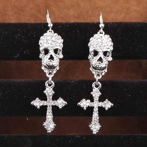 Jewelry - Silvertone Rhinestone Skull Earrings